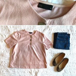 SEED Button Textured Blouse